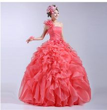 High Fashion Orange Quinceanera Dresses 2015 Ball Gowns Sweet Girls 16 Dress with Flowers One Shoulder Tiered Organza  ZBQ50