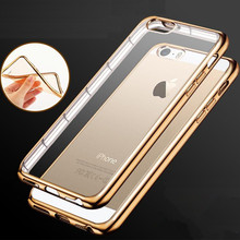 for iPhone 4 4S 5 5S SE 6 6S 7 Plus Slim Crystal Soft Silicone Plating Clear TPU Case Ultra Thin Transparent Rubber Back Cover