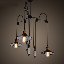 Retro industrial restaurants chandeliers bars American style chandeliers wind power three litre retractable lights GY192(China)