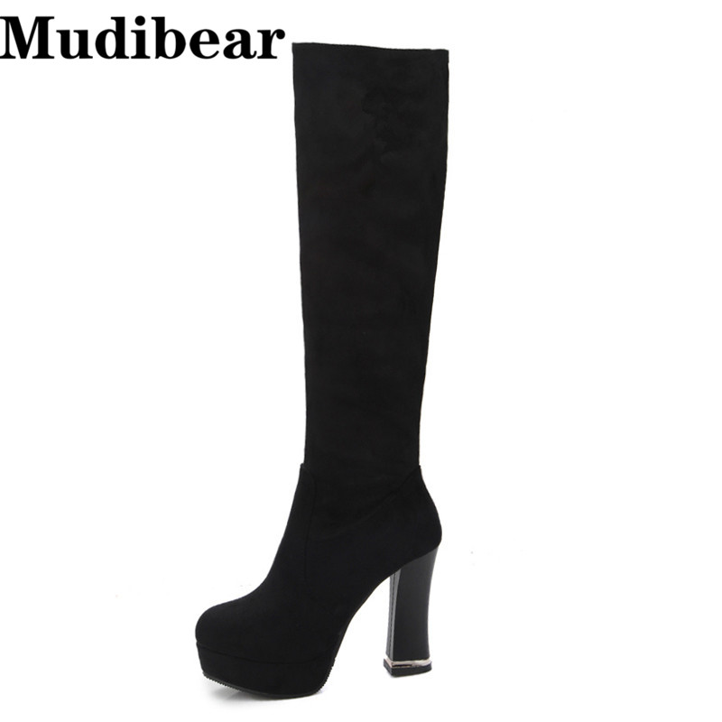 Mudibear 10.5 CM Fashion Black Knee High Boots Suede Leather Boots With Warm Plush High Quality Classical Botas Women Shoes Lady<br>