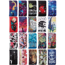 Flip PU Leather For Huawei Ascend P8 Lite Case Oil Painting Art Trees Hope Wallet Flip Stand Cover for Huawei P8 Lite Shell(China)