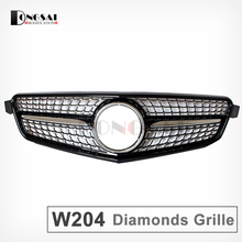Black Mercedes W204 Diamonds Grill For Benz C Class W204 C300 C180 C200 C260 Mercedes Front Grille 2007- 2014