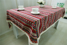 Three-color stripes Table Cloth Vintage Farmhouse Style Tablecloths Handmade Stripes Printed Woven Home Party Dining Room