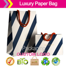 Luxury retail carrier bags /Client Construct Jewelry packaging and display , foil block dye handles shopping Bags Retail Luxury(China)