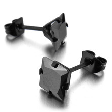 Men's Stainless Steel Stud Earrings CZ Black Royal King Crown Square Vintage Free Shipping(China)