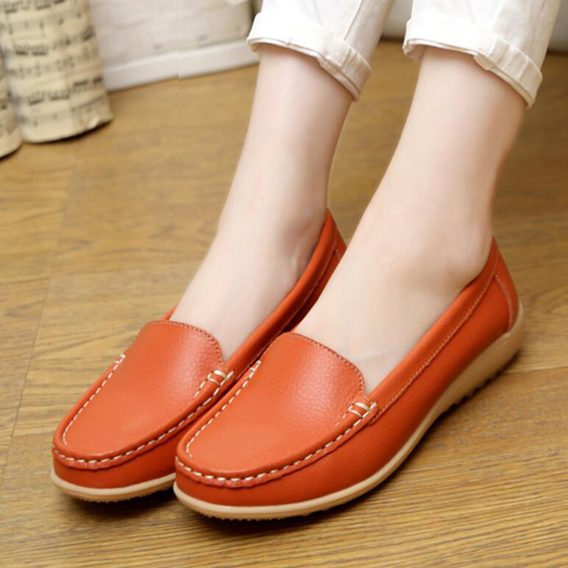 Women Flats Shoes Casual Summer Genuine Leather Soft Women Slip On Flat Loafers Ballet Dance Shoes Plus Size 35-41 pcd35<br><br>Aliexpress