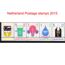 5 pieces joined sheet Netherlands postage stamps 2015 Scientific miracles. Radio. Bulb and so on(China)