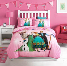 Elsa and Anna Disney Cartoon 3D Printed Bedding Set for Girls Bedroom Decor Cotton Bed Duvet Cover Single Twin Full Queen Pink
