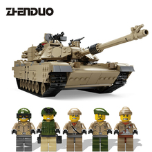 ZhenDuo 1463 Pcs Military Theme Building Blocks Toys Tank M1A2 Army Car Model Assembled Toy for Children Boys Gifts