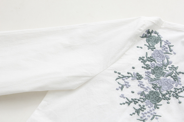 Floral Embroidery White Blouse 23