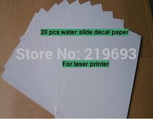 Waterslide transfer (20 sheets/lot) A4 clear/transparent laser water decal printing paper for organic board