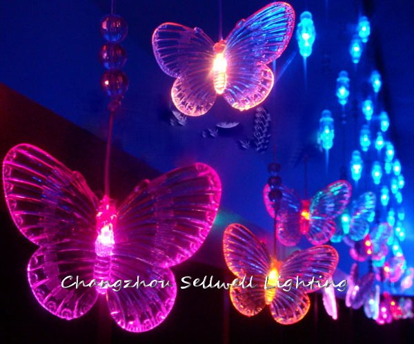 NEW!Entrance decoration showcase decoration 72pcs bead curtain blue&amp;coloured butterfly lamp H215<br><br>Aliexpress