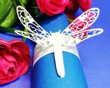 60pcs/lot Dragonfly Shape Laser Cut Napkin Ring Feast Party Serviette Paper Holder Wedding Banquet Table Adornment wc310