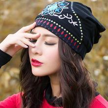 Ethnic Skullies Beanies Women Autumn Spring Mexican Style Hippie Black Blue Red Floral Embroidery Hat Beanies(China)
