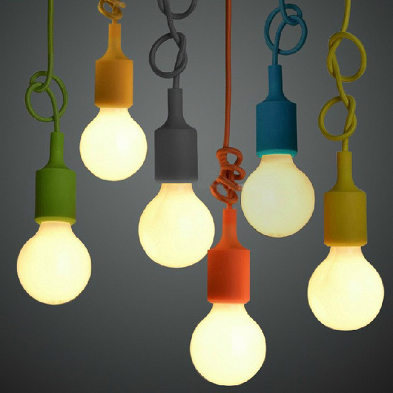 Modern Pendant Lights Silicone e27 Pendant Lamp Colorful DIY luminaire Fabric Cable Bulb Holder Bar Restaurant Hanging Lamp<br><br>Aliexpress