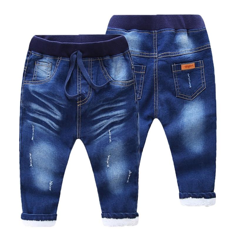 Winter Thick Kids Pants Warm Cashmere Baby Boys Jeans Kids Long Trousers Autumn Velvet Jeans Children Fashion Clothes<br>
