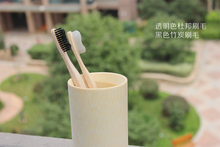 Soft toothbrush bamboo wooden handle creative toothbrush oral hygiene tongue scraper, a small brush double ultra soft toothbrush(China)