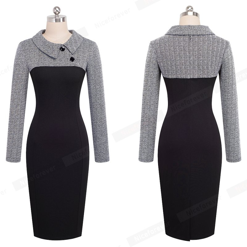 Nice-forever Elegant Vintage Fitted winter dress full Sleeve Patchwork Turn-down Collar Button Business Sheath Pencil Dress b238 15