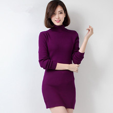Lady Knit Winter Sweater Dress Coat Woolen Long Pullovers Women Christmas Turtleneck Poncho High Neck Christmas Free Shipping