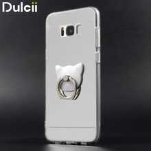Dulcii for Galaxy S 8 Phone Case Electroplated Mirror-like TPU PC Hybrid Casing Kickstand for Samsung Galaxy S8 G950 Cover(China)