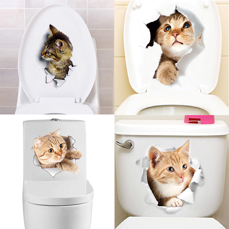 Cartoon animal 3d toilet stickers on the toilet seat cute cats PVC wall sticker bathroom refrigerator door decor stickers decals (3)