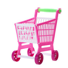 New Design 11.8'' Mini Shopping Cart Kitchen Toys with Full Grocery Food Toy Playset for Kids Toys FCI#