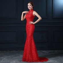 2016 Fashion New Spring Chinese Evening Dress  Bride  Tailing Toast Slim Wedding Cheongsam Red Long Qipao Traditional Qi Pao