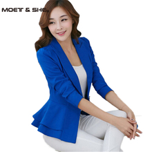 Fashion Blazer Women Suit Foldable Long Sleeves Slim Lapel Coat Single Button Work Wear Ruffled Jackets Candy Color C53001