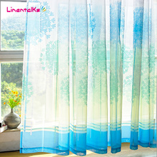 [140cm*250cm] Sheer curtain Made ready e gauze shade curtain window transparent voile tulle blue curtains for living room