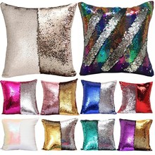 1Pcs 40*40cm Reversible Sequin Mermaid Throw Pillow Cushion Cover Car Home Decoration Sofa Bed Decor Decorative Pillowcase 40043(China)