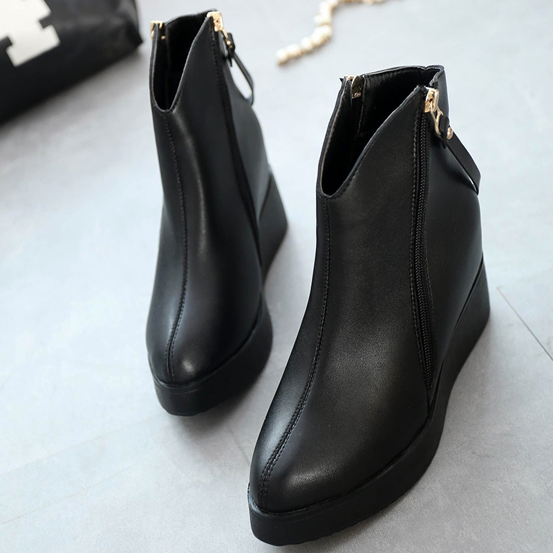 Black Women Wedge Boots Motorcycle Thick Bottom Creepers Womens Ankle Boots Zipper Punk Shoes Medium Heels Platform Martin Boots<br><br>Aliexpress