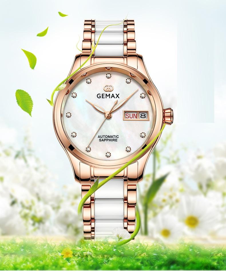 GEMAX Women Watches Waterproof Automatic Mechanical Watch Ladies Fashion Top Brand Diamond Calendar Ceramic Sapphire MIYOTA 2017 (1)