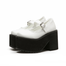 Chaussure Femme Talon 7cm White/Black Shoes Fashion Chunky Platform Heels Cute Shoes Women Round Toe Harajuku Shoes