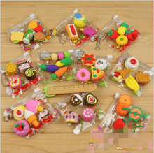 NEW Arrival Korean Stationery Cute Cartoon Toy Eraser Food Eraser Toy Sets PV Bag Package Kids Excellent Gifts Factory Wholesale