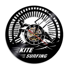 1Piece Kite Surfing Wall Clock Wall Art Record Time Vinyl Clock Handmade Gift Idea For Sea Sports Lover(China)