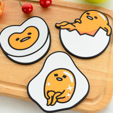 1 Piece Cartoon Egg Drink Pads Silicone Dining Table Placemat Coaster Kitchen Accessories Cup Bar Mug Mat C