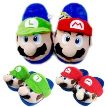 Super Mario Brothers Mario Luigi Green Yoshi Plush Indoor Slippers For Adults Women Men Autumn Winter Home Slippers SA1505