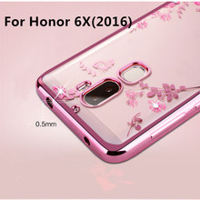 Luxury Flowers plating Diamond Soft TPU Case For Huawei Honor 6X Back Cover for Huawei GR5 2017/ Mate 9 Lite Slim Silicone Case