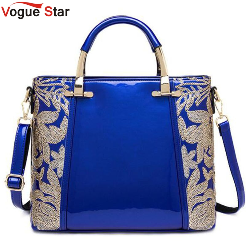 2017 Women Leather Handbags Messenger Bags New Fashion Sequins Embroidered Patent Leather Ladies Tote Shoulder Bags  LS589<br><br>Aliexpress