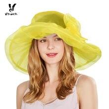 Vbiger sombrero mujeres sol organza floral Ruffles grande ancho del verano  del borde sombrero señoras Tea 0c02f34443e