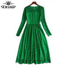 2018 spring fashion dress high quality runway spring women's white dress ladies green dresses 20180106(China)