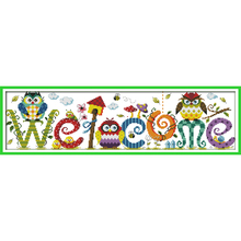 The owl welcome card pattern Chinese Cross stitch kits DIY embroidery thread cotton needlework garden house counted cross-stitch(China)