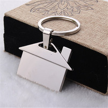 1 piece Silver Plating House Shape Metal Keyfinder DIY Promotional keychain Gift Jewelry Accessories(China)