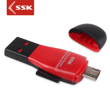 SSK hot-selling 480Mbps USB2.0 card reader supporting Micro SD/T-Flash card with OTG Function smart memory card reader adapter(China)