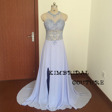 Actual Evening Dress Gowns Court Train Side Slit High Neck Lace Beading Crystal Sheer Chiffon Lavender Prom Dresses Real Picture