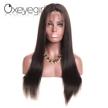 Peruvian Hair Full Lace Human Hair Wigs With Baby Hair Straight Hair Lace Wigs For Women Natural Hairline Oxeyegirl Non remy Wig(China)