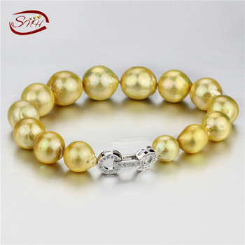 SNH 10-13 мм edsion золотой AA + 925 серебряных естественный пресноводный жемчуг браслеты
