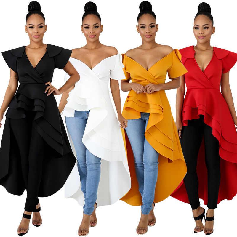 Lrady Women Ruffle High Low Asymmetrical Bodycon Peplum Tops Tunic Shirt Dress