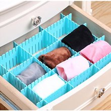 8pcs Creative DIY Adjustable Organizer Partitions Combination Grid Drawer Closet Divider Household Organization Clapboard Blue