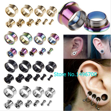 Fashion 1 Pair medical Stainless Steel Ear Plugs Hollow Expander Stretcher Tunnels Piercing 5 to 20mm body jewelry for men women